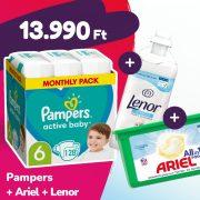 Pampers Active Baby pelenka, Junior 6, 13-18 kg, 128 db + Ariel mosókapszula + Lenor öblítő