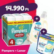 Pampers Pants bugyipelenka, Maxi 4, 9-15 kg, 176 db + Lenor mosókapszula + öblítő