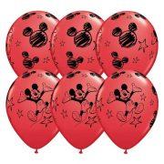 Piros Mickey egeres lufi - 28 cm (6 db)