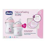 Chicco Natural Feeling cumi és cumisüveg ajándék szett - rózsaszín