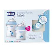 Chicco Natural Feeling cumi és cumisüveg ajándék szett - kék
