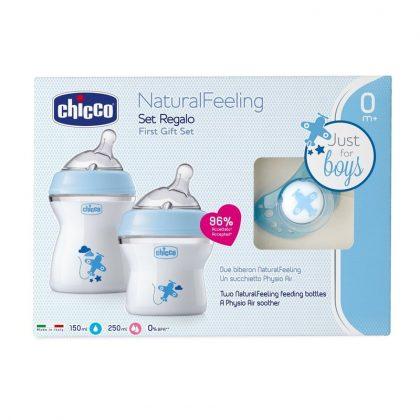 Chicco Natural Feeling cumi és cumisüveg szett (kék)
