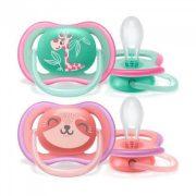 Avent SCF349/12 Ultra air játszócumi 18 hó+ 2 db (zöld, rózsaszín) - zsiráf, cica