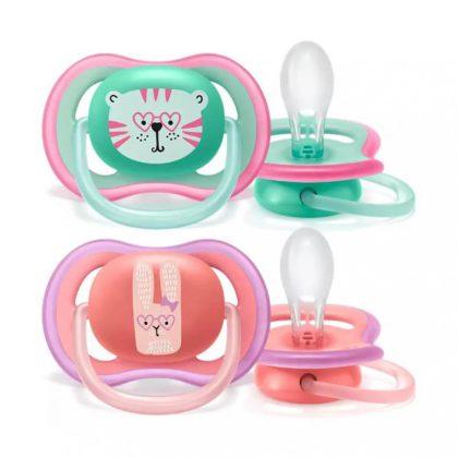 Avent SCF349/15 Ultra air játszócumi 18 hó+ 2 db (zöld, rózsaszín) - tigris, nyuszi