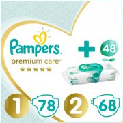 Pampers Premium Care 1, 2-5 kg, 78 db + 2, 4-8 kg, 68 db + Pampers Aqua Pure nedves törlőkendő 48 db