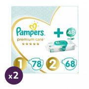 Pampers Premium Care 1, 2-5 kg, 2x78 db + 2, 4-8 kg, 2x68 db + Pampers Aqua Pure nedves törlőkendő 2x48 db