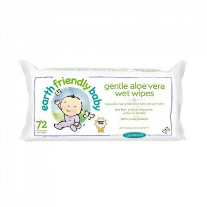 Earth Friendly Baby organikus nedves törlőkendő aloe vera-val 72 db-os
