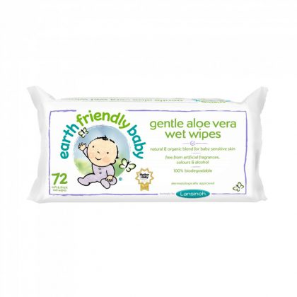 Earth Friendly Baby organikus nedves törlőkendő aloe vera-val 72 db