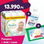 Pampers Premium Care pelenka, Midi 3, 6-10 kg, 204 db + Ariel mosókapszula + Lenor öblítő