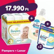 Pampers Premium Care pelenka, Midi 3, 6-10 kg, 204 db + 2 csomag Lenor mosókapszula + öblítő